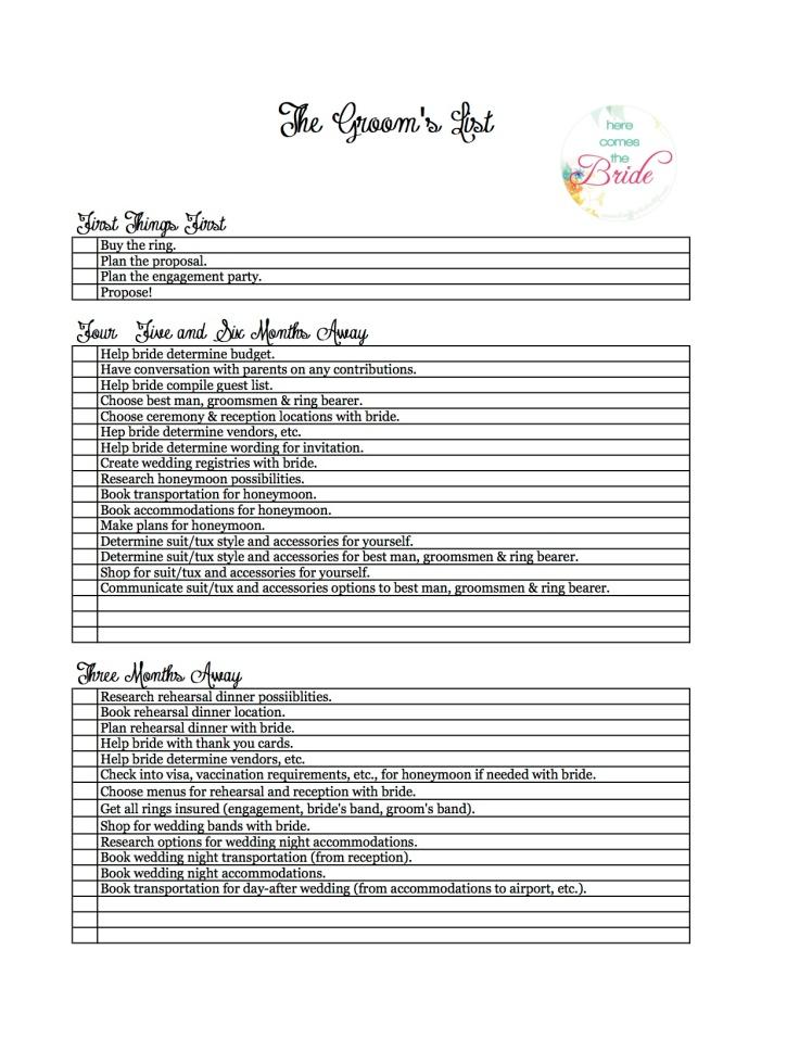 Groom's Checklist