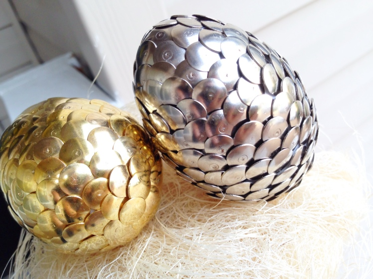 diy metallic easter eggs
