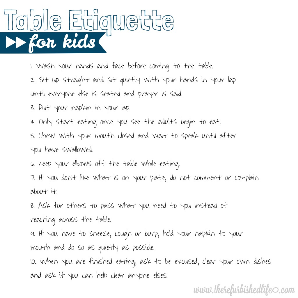 Table etiquette free kitchen printables the for Table etiquette